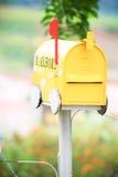 Yellow mailbox Stock Photos