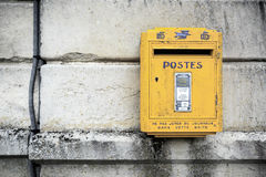 Yellow mailbox Royalty Free Stock Image
