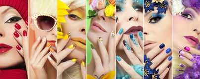 Yellow makeup and a French manicure. stock image