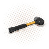 Yellow mallet with black handle stock illustration