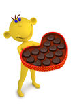 Yellow man with the box of chocolate candies Royalty Free Stock Image