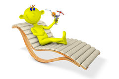 Yellow man on a chaise lounge Stock Images