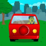 Man driving, holding a steering wheel. vector illustration