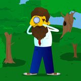 Man holding binoculars in his hands. stock illustration