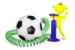 Yellow man pumps a ball for football Royalty Free Stock Images