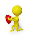 Yellow man with red heart Royalty Free Stock Images
