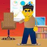 Man thinking or pointing to his left side. vector illustration