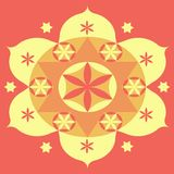 Yellow Mandala. Yellow Mandal with a Pink background Stock Illustration