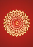 Yellow mandala with the symbol aum on a red background. Spiritual Symbol. Artistic background. Object of rotation. Vector graphics Stock Photos