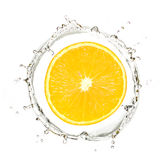 Yellow mandarin or orange in water splash Royalty Free Stock Photos