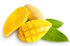 Yellow mango isolated on white Royalty Free Stock Photos