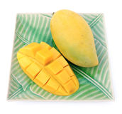 Yellow mango on plate. On white background Stock Photography