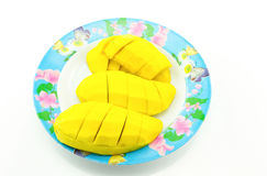 Yellow mango slices laid on a plate, white background. Yellow mango slices laid on a plate white background Royalty Free Stock Photos