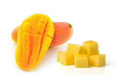Yellow mango  on a white background Stock Images
