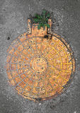 Yellow manhole Royalty Free Stock Photos