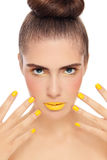 Yellow manicure Royalty Free Stock Image