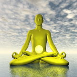 Yellow manipura or solar plexus-navel chakra meditation - 3D render Stock Photography