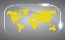 Yellow Map of the world. Beautiful yellow world Map in glass vector design Royalty Free Stock Photo