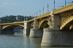 View of Margit hid, margit bridge in Budapest over Danube river Royalty Free Stock Image