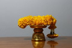Yellow marigold flower garland on golden color of thai traditional tray, on the wooden table. Yellow marigold flower garland on golden color of thai traditional stock photo