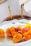 Yellow Marigold flowers - for worship Stock Photos