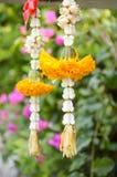 Yellow marigold garland. Close up yellow marigold garland royalty free stock photography