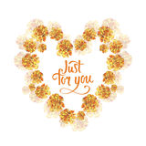 Yellow marigold  rose flower background heart wreath frame in watercolor drawing. Just for you hand writing. Royalty Free Stock Photography