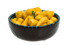 Yellow marinated pepper Royalty Free Stock Photos