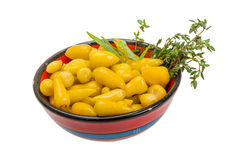 Yellow marinated pepper Stock Images