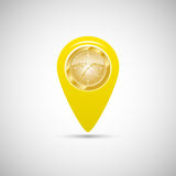 Yellow marker for maps with watch. Vector illustration Royalty Free Stock Images