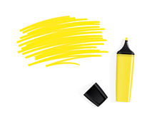 Yellow marker with scribbled space for text Royalty Free Stock Image