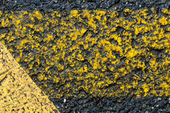 Yellow markings on road Royalty Free Stock Photo