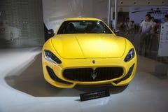 Yellow maserati car Stock Photos