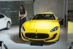 Yellow maserati car Royalty Free Stock Photography