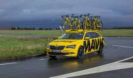 The Yellow Mavic Car - Paris-Nice 2017 stock photos
