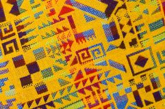 Yellow Mayan Pattern. Colorful Native American Mayan Pattern on a Textile showing designs and yellow color stock photo