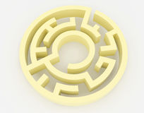 Yellow maze, complex way to find exit. Royalty Free Stock Image