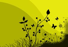 Yellow meadow illustration royalty free stock photo