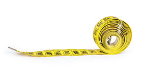 Yellow measure tape. Isolated over white Royalty Free Stock Image
