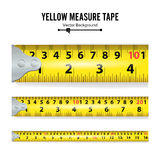 Yellow Measure Tape Vector. Centimeter And Inch. Measure Tool Equipment Illustration Isolated On White Background Royalty Free Stock Photos