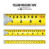 Yellow Measure Tape Vector. Measure Tool Equipment In Centimeters. Several Variants, Proportional Scaled. Stock Images