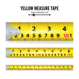 Yellow Measure Tape Vector. Measure Tool Equipment In Inches. Several Variants, Proportional Scaled. Royalty Free Stock Images