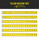 Yellow Measure Tape Vector. Measure Tool Equipment In Inches. Several Variants, Proportional Scaled. Royalty Free Stock Photos