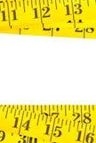 Yellow measurement tape border stock photography