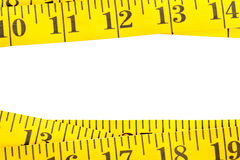Yellow measurement tape border Stock Images