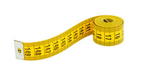 Yellow measuring. Tape isolated on white Stock Images