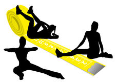 A yellow measuring tape and gymnas Stock Image