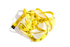 Yellow measuring tape isolate on white background Royalty Free Stock Photography