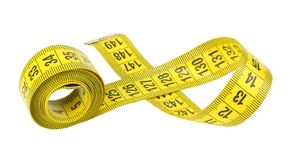 Yellow measuring tape isolated on white background stock photo