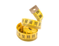 Yellow measuring tape isolated on white background Royalty Free Stock Images